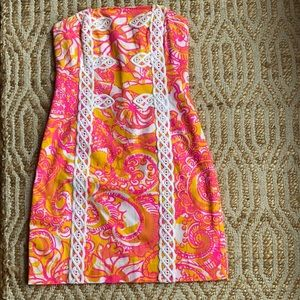 Lilly Pulitzer strapless shift dress.